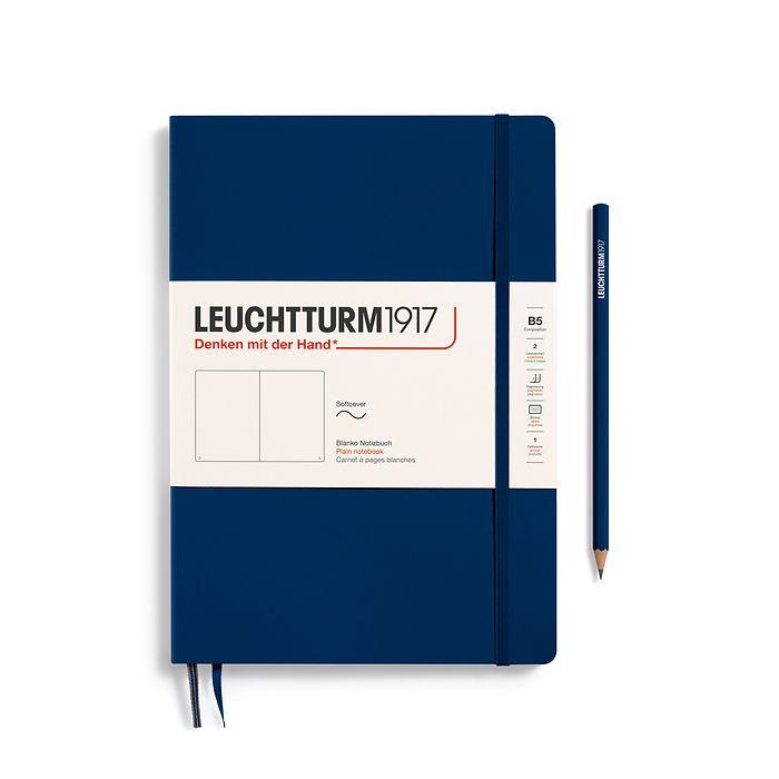 Notizbuch Composition (B5), Softcover, 123 nummerierte Seiten, Marine, Blanko