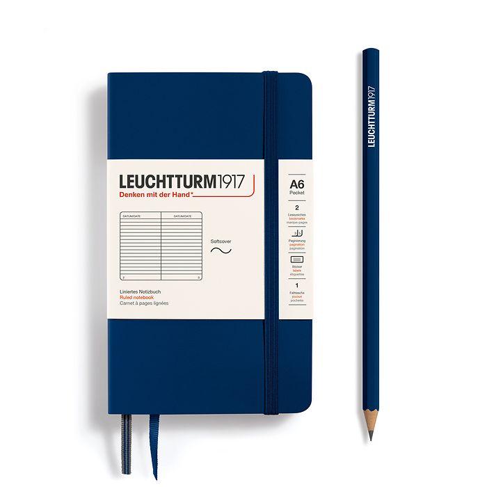 Notizbuch Pocket (A6), Softcover, 123 nummerierte Seiten, Marine, Liniert