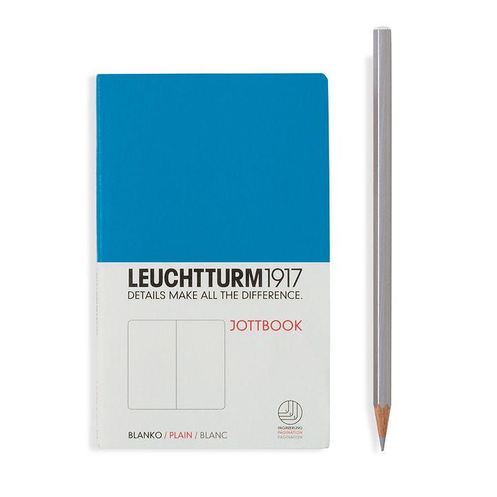 Jottbook Pocket (A6), 60 nummerierte Seiten, 16 Blatt perforiert, Azur, Blanko