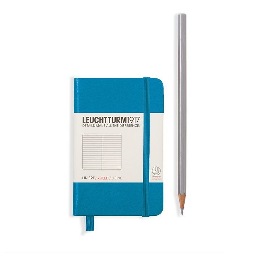 Notizbuch Mini (A7), Hardcover, 171 nummerierte Seiten, Azur, Blanko