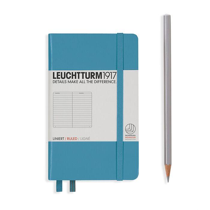 Notizbuch Pocket (A6), Hardcover, 187 nummerierte Seiten, Nordic Blue, Liniert