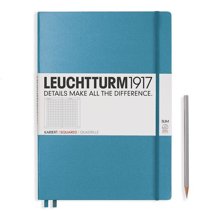 Notizbuch Master Slim (A4+), Hardcover, 123 nummerierte Seiten, Nordic Blue, Kariert