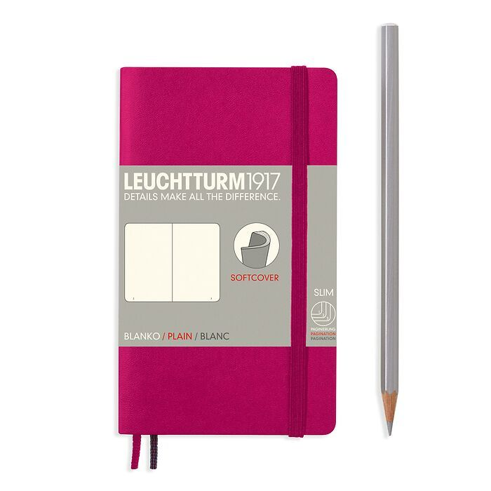Notizbuch Pocket (A6), Softcover, 123 nummerierte Seiten, Beere, Blanko