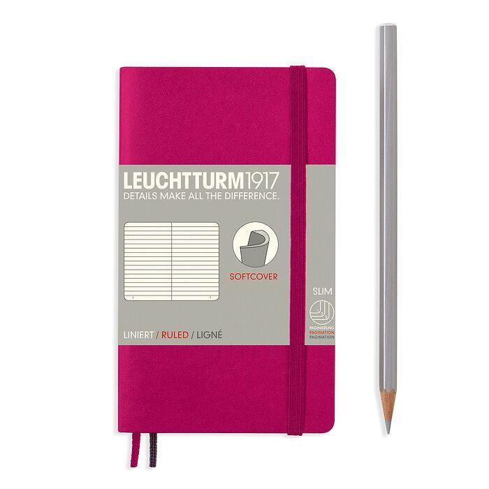 Notizbuch Pocket (A6), Softcover, 123 nummerierte Seiten, Beere, Liniert