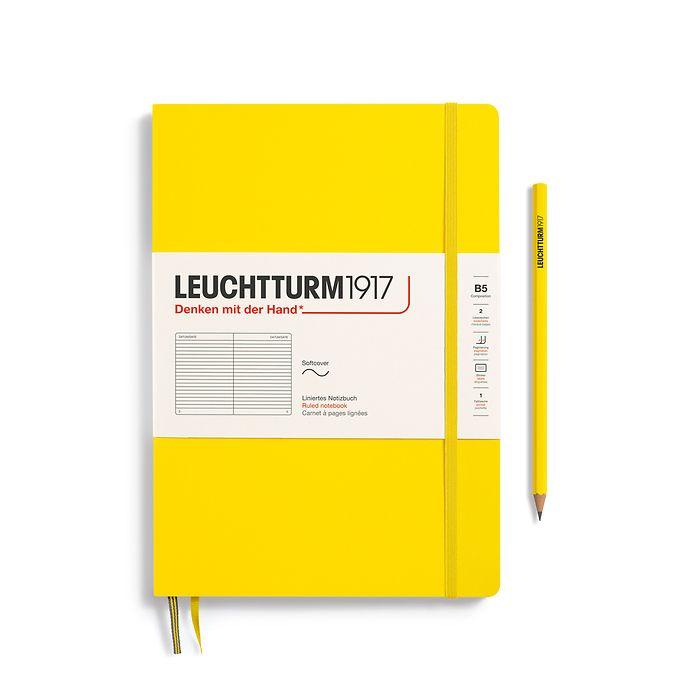 Notizbuch Composition (B5), Softcover, 123 nummerierte Seiten, Zitrone, Liniert