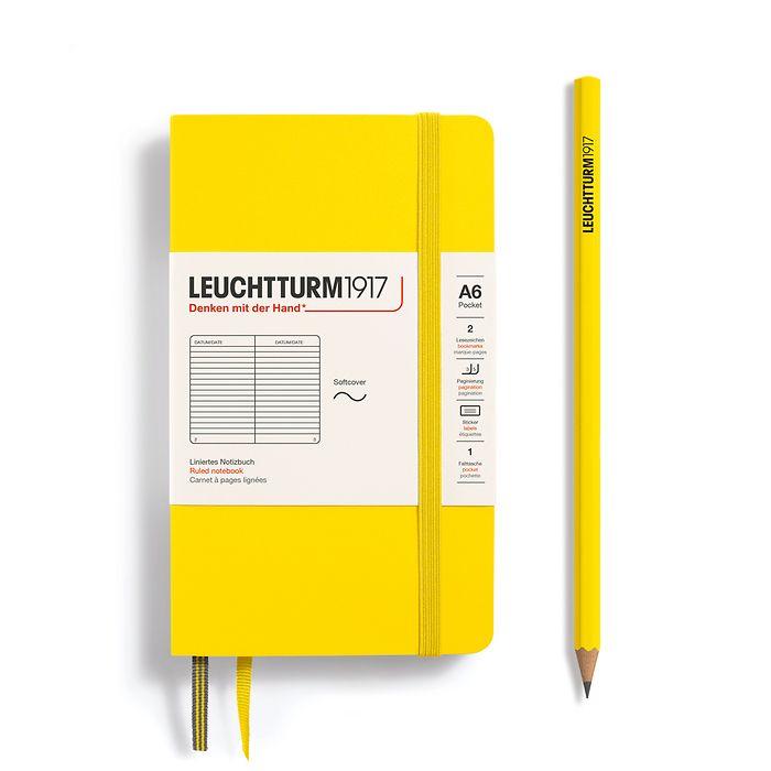 Notizbuch Pocket (A6), Softcover, 123 nummerierte Seiten, Zitrone, Liniert