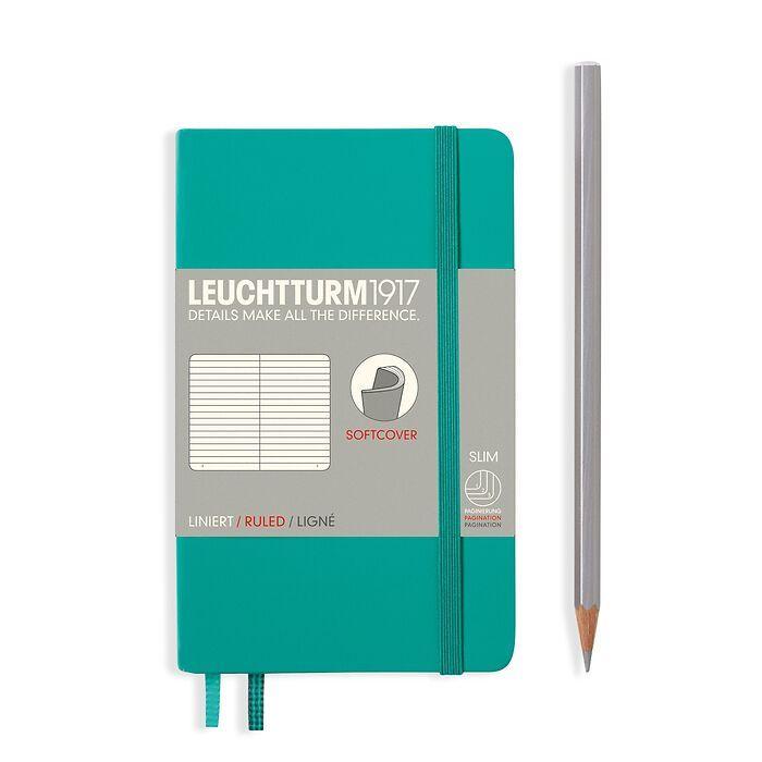 Notizbuch Pocket (A6), Softcover, 123 nummerierte Seiten, Smaragd, Liniert
