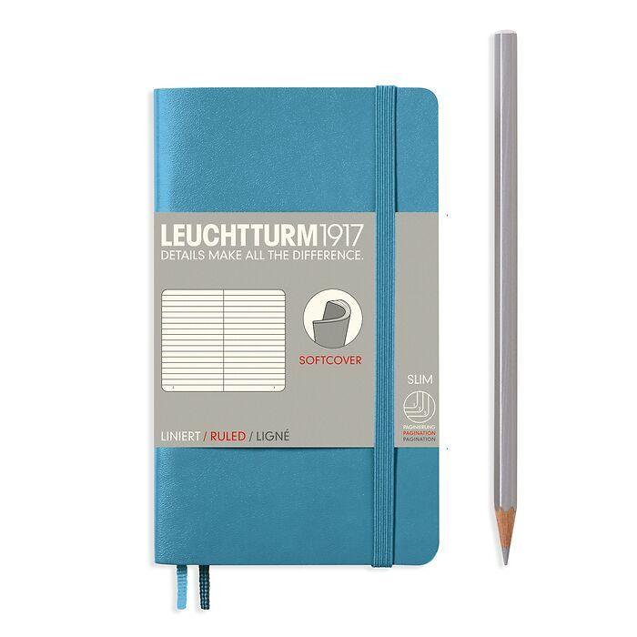 Notizbuch Pocket (A6), Softcover, 123 nummerierte Seiten, Nordic Blue, Liniert