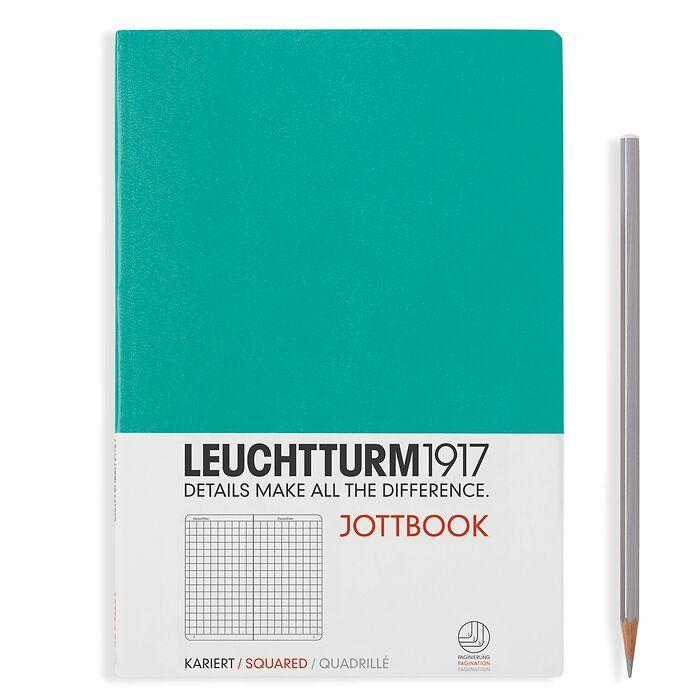 Jottbook Medium (A5), 60 nummerierte Seiten, 16 Blatt perforiert, Smaragd, Kariert