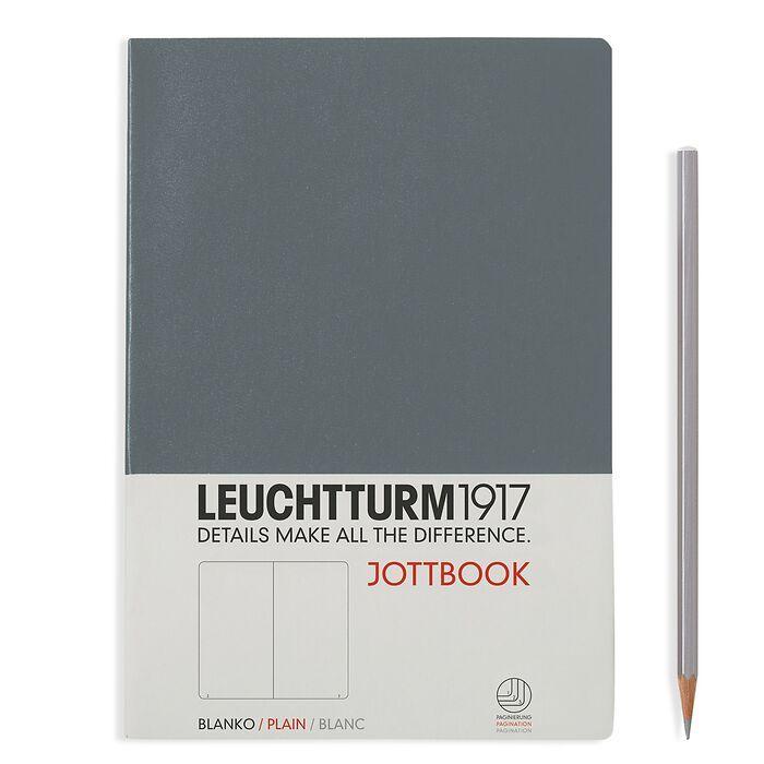 Jottbook Medium (A5), 60 nummerierte Seiten, 16 Blatt perforiert, Anthrazit, Blanko