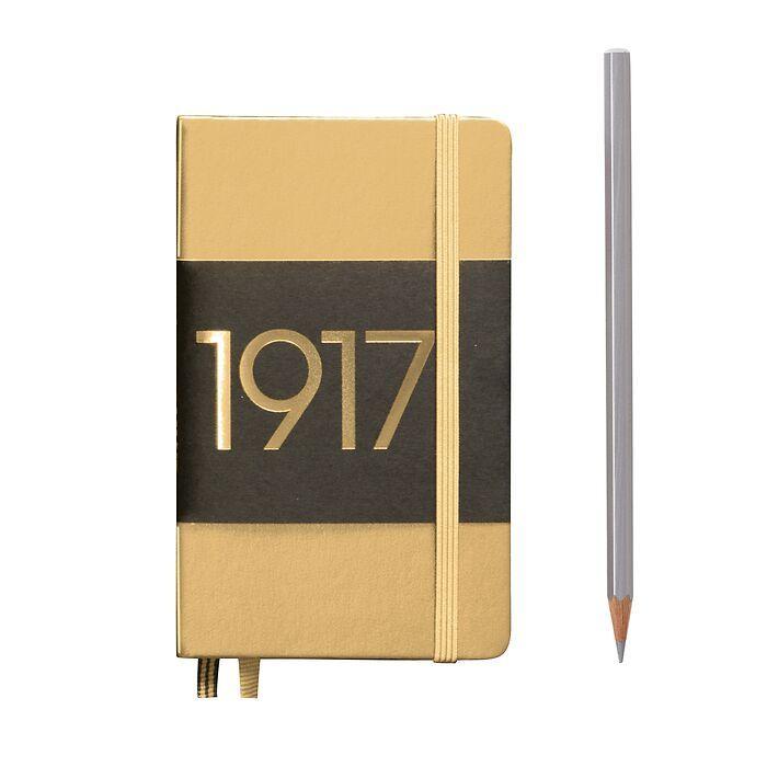 Notizbuch Pocket (A6), Hardcover, 187 nummerierte Seiten, Gold, Liniert