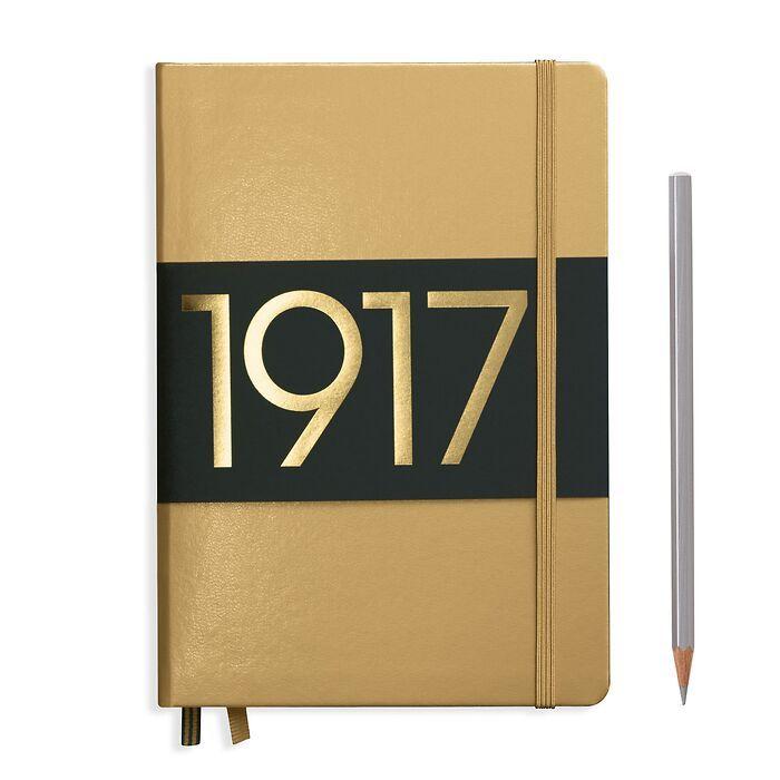 Notizbuch Medium (A5), Hardcover, 251 nummerierte Seiten, Gold, Blanko