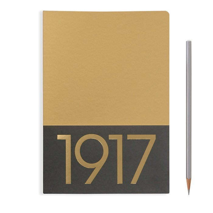 Jottbook Medium (A5), 60 nummerierte Seiten, Liniert, Gold,im Doppelpack