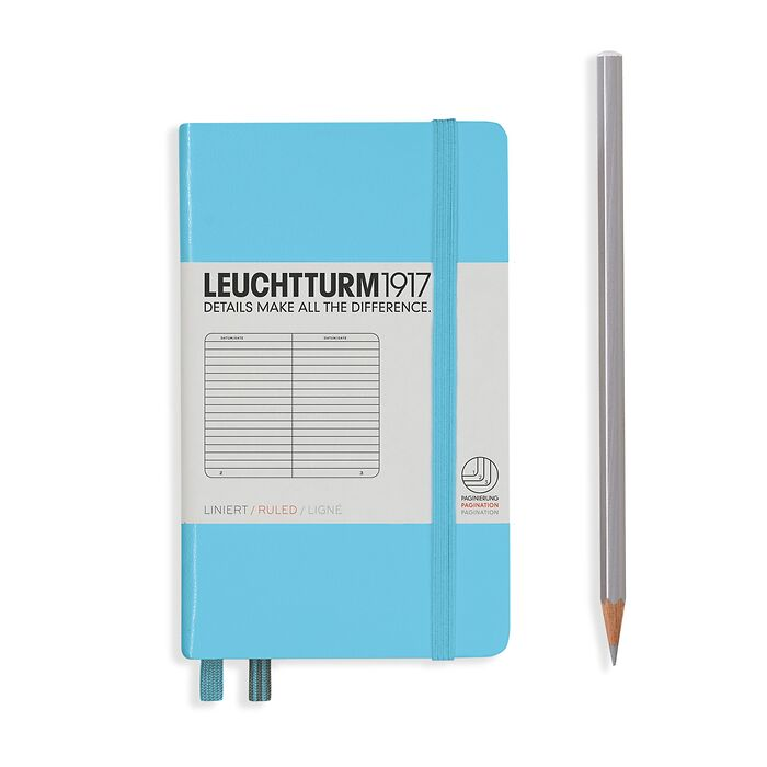 Notizbuch Pocket (A6), Hardcover, 187 nummerierte Seiten, Ice Blue, Liniert