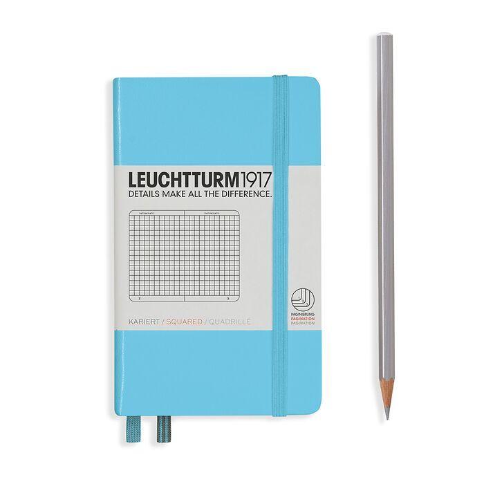Notizbuch Pocket (A6), Hardcover, 187 nummerierte Seiten, Ice Blue, Kariert