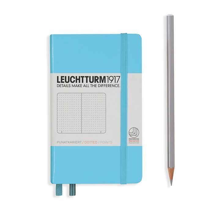 Notizbuch Pocket (A6), Hardcover, 187 nummerierte Seiten, Ice Blue, Dotted