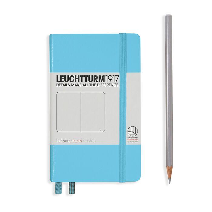 Notizbuch Pocket (A6), Hardcover, 187 nummerierte Seiten, Ice Blue, Blanko