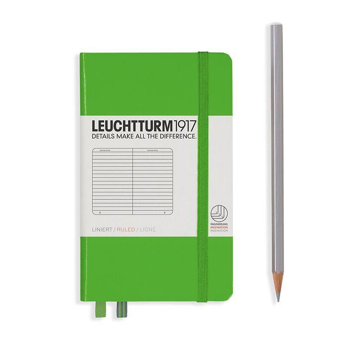 Notizbuch Pocket (A6), Hardcover, 187 nummerierte Seiten, Fresh Green, Liniert