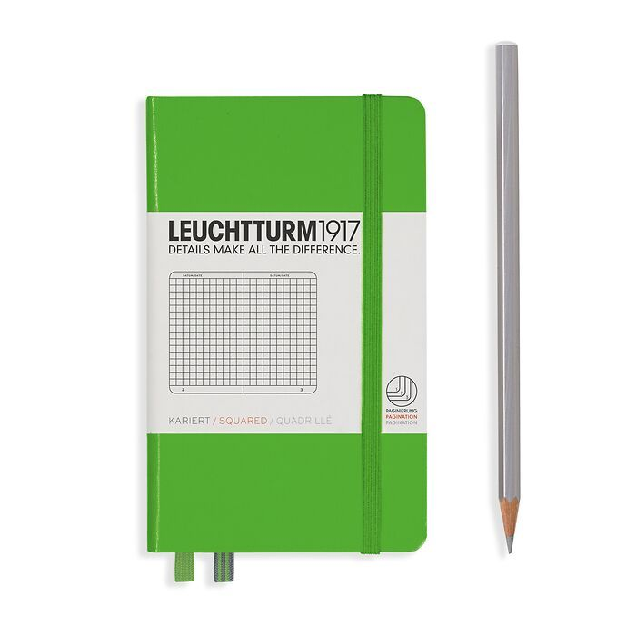 Notizbuch Pocket (A6), Hardcover, 187 nummerierte Seiten, Fresh Green, Kariert