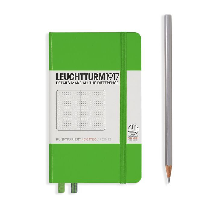 Notizbuch Pocket (A6), Hardcover, 187 nummerierte Seiten, Fresh Green, Dotted