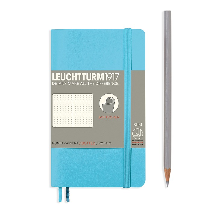 Notizbuch Pocket (A6), Softcover, 123 nummerierte Seiten, Ice Blue, Dotted