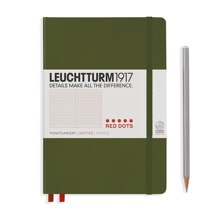 Notizbuch Medium (A5), Red Dots, Hardcover, 251 nummerierte  Seiten, Army, Dotted