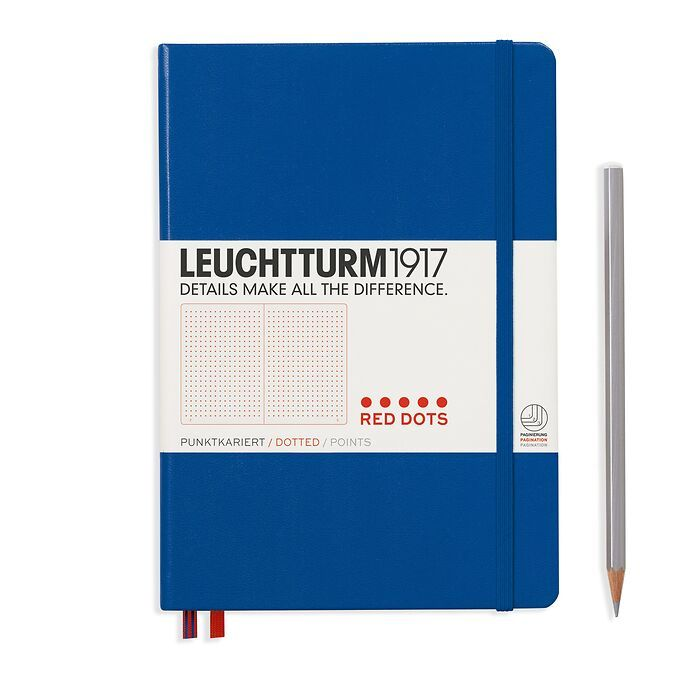 Notizbuch Medium (A5), Red Dots, Hardcover, 251 nummerierte  Seiten, Königsblau, Dotted
