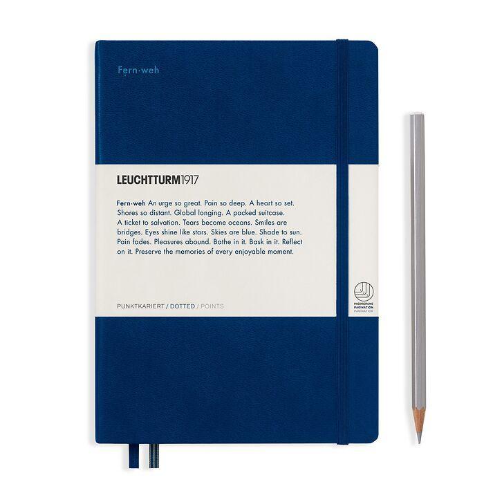 Notizbuch Medium (A5), Hardcover, 251 num. S. Marine, Dotted - Leuchtkraft (Fernweh)