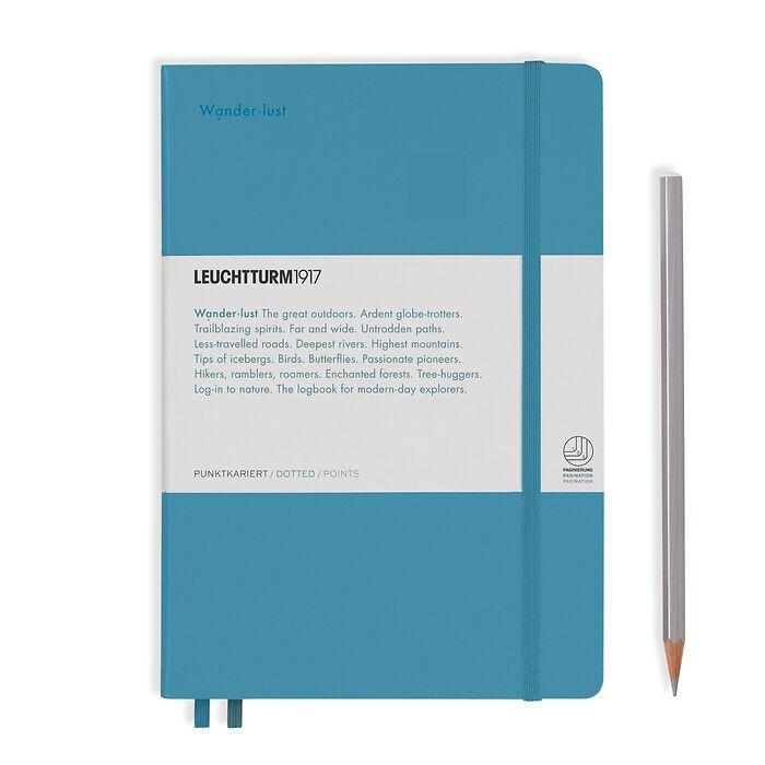 Notizbuch Medium (A5), Hardcover, 251 num. S. Nordic Blue, Dotted - Leuchtkraft (Wanderlus