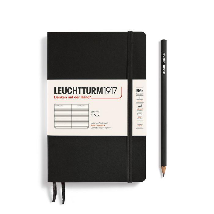 Notizbuch Paperback (B6+), Softcover, 123 nummerierte Seiten, Schwarz, Liniert