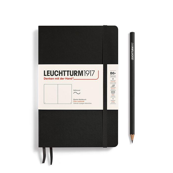 Notizbuch Paperback (B6+), Softcover, 123 nummerierte Seiten, Schwarz, Blanko