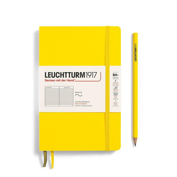 Notizbuch Paperback (B6+), Softcover, 123 nummerierte Seiten, Zitrone, Liniert