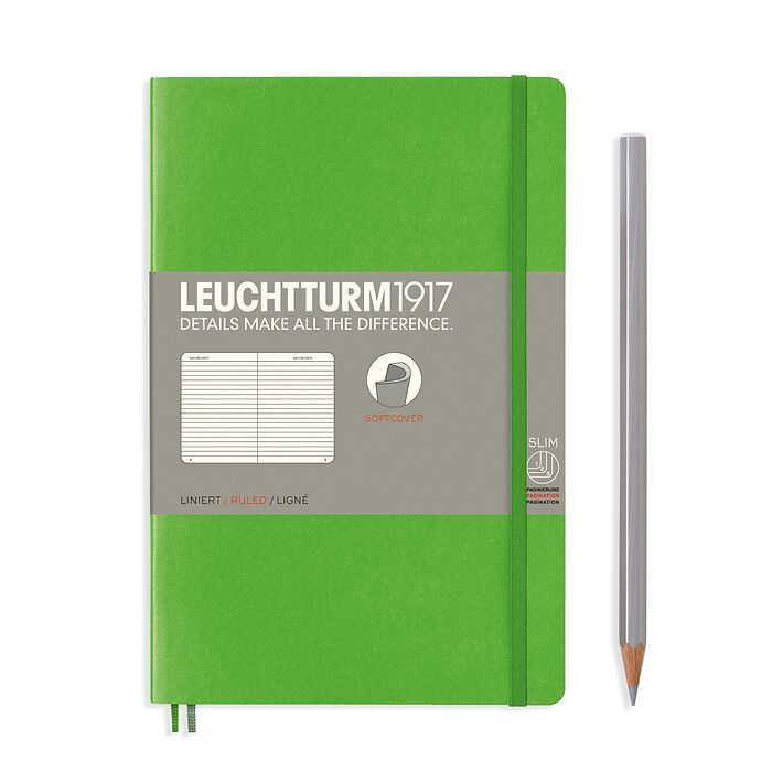 Notizbuch Paperback (B6+), Softcover, 123 nummerierte Seiten, Fresh Green, Liniert
