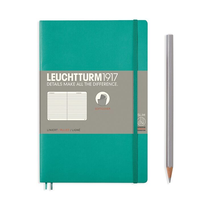Notizbuch Paperback (B6+), Softcover, 123 nummerierte Seiten, Smaragd, Liniert