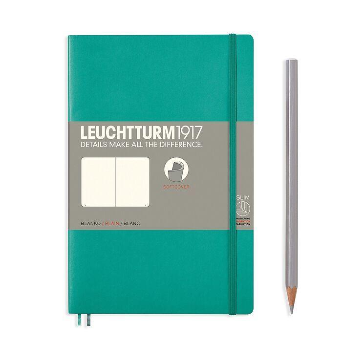 Notizbuch Paperback (B6+), Softcover, 123 nummerierte Seiten, Smaragd, Blanko