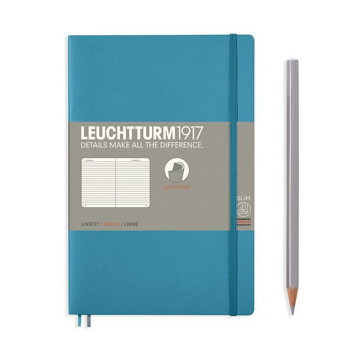 Notizbuch Paperback (B6+), Softcover, 123 nummerierte Seiten, Nordic Blue, Liniert