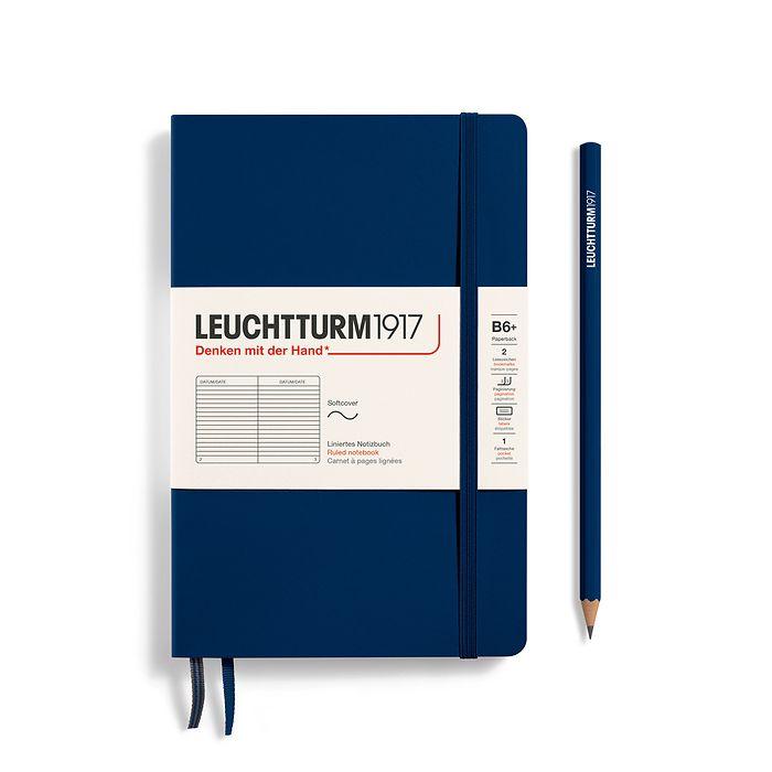 Notizbuch Paperback (B6+), Softcover, 123 nummerierte Seiten, Marine, Liniert