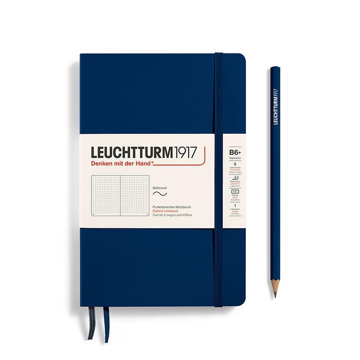 Notizbuch Paperback (B6+), Softcover, 123 nummerierte Seiten, Marine, Dotted