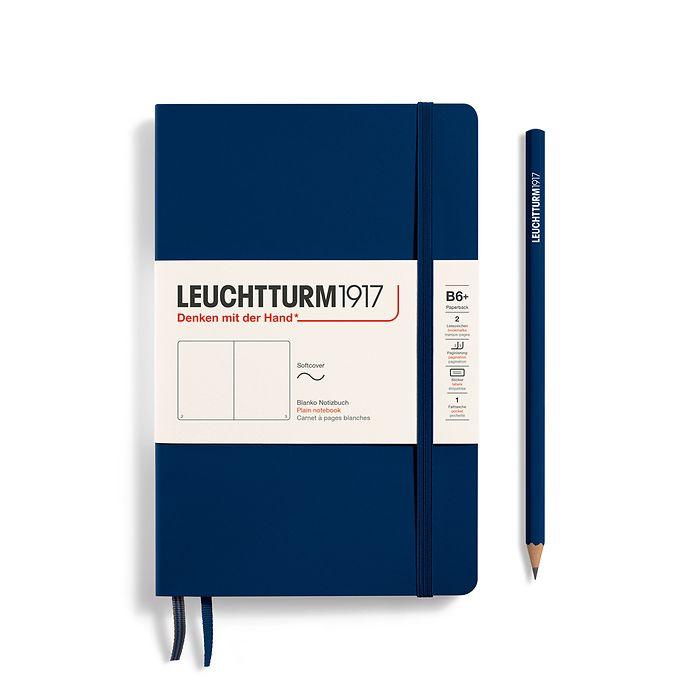 Notizbuch Paperback (B6+), Softcover, 123 nummerierte Seiten, Marine, Blanko