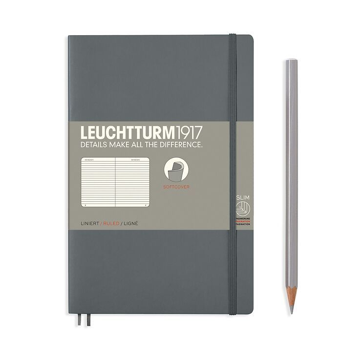 Notizbuch Paperback (B6+), Softcover, 123 nummerierte Seiten, Anthrazit, Liniert