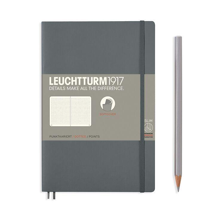 Notizbuch Paperback (B6+), Softcover, 123 nummerierte Seiten, Anthrazit, Dotted