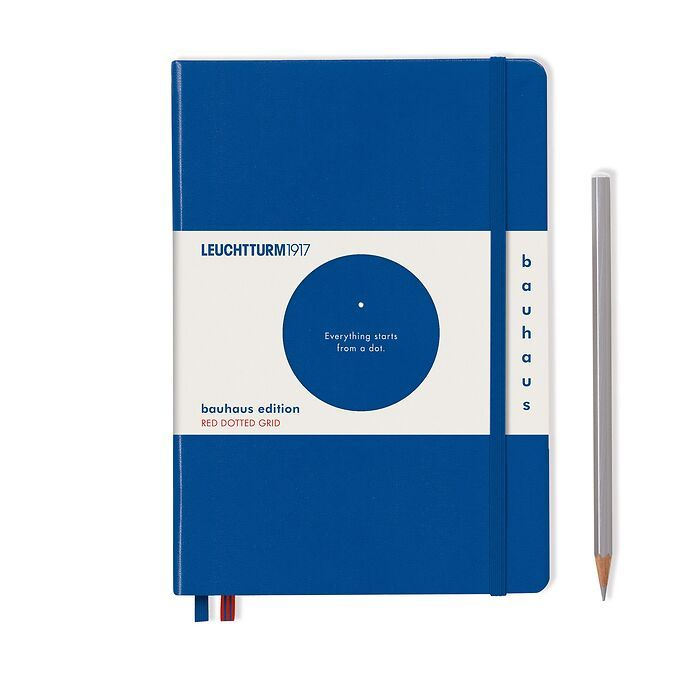 Notizbuch Medium (A5), Hardcover, 251 num. Seiten, Königsblau, Dotted, 100 Jahre Bauhaus