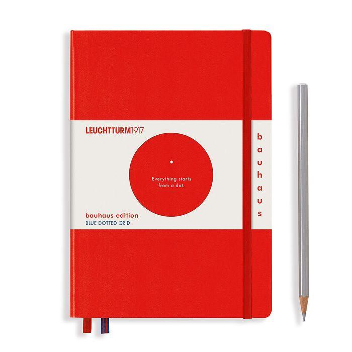 Notizbuch Medium (A5), Hardcover, 251 num. Seiten, Rot, Dotted, 100 Jahre Bauhaus