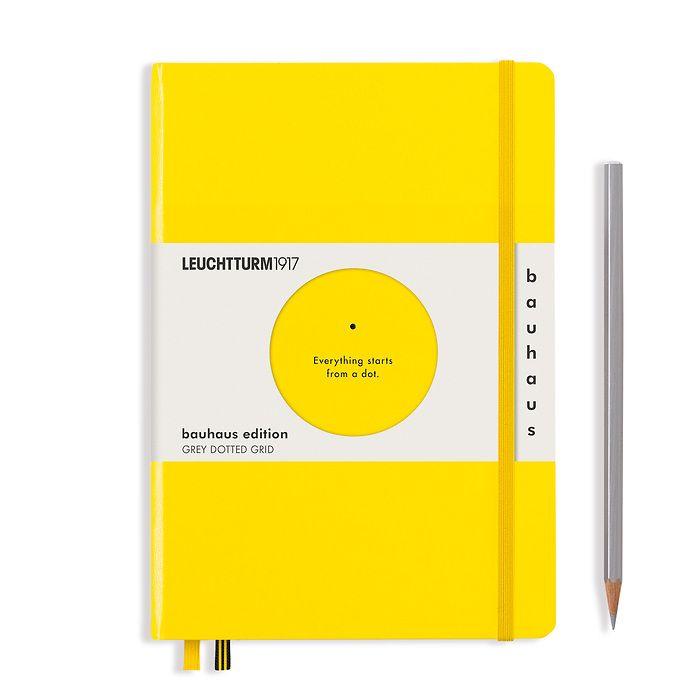 Notizbuch Medium (A5), Hardcover, 251 num. Seiten, Zitrone,  Dotted, 100 Jahre Bauhaus