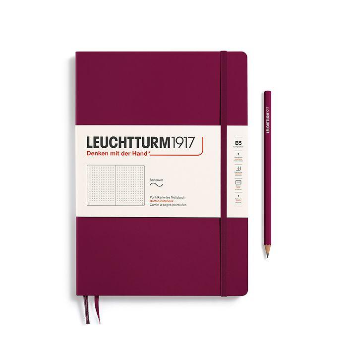 Notizbuch Composition (B5), Softcover, 123 nummerierte Seiten, Port Red, Dotted
