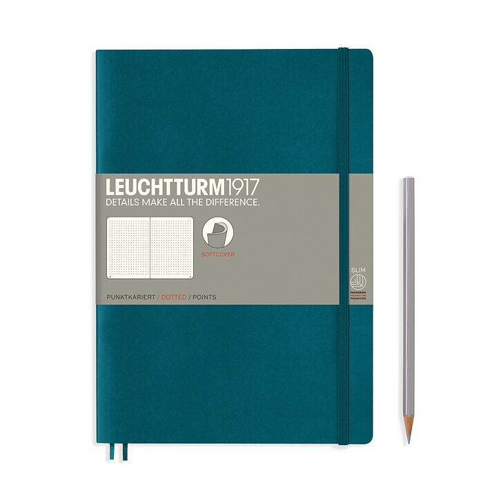Notizbuch Composition (B5), Softcover, 123 nummerierte Seiten, Pacific Green, Dotted