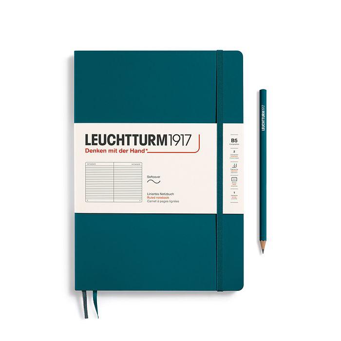 Notizbuch Composition (B5), Softcover, 123 nummerierte Seiten, Pacific Green, Liniert