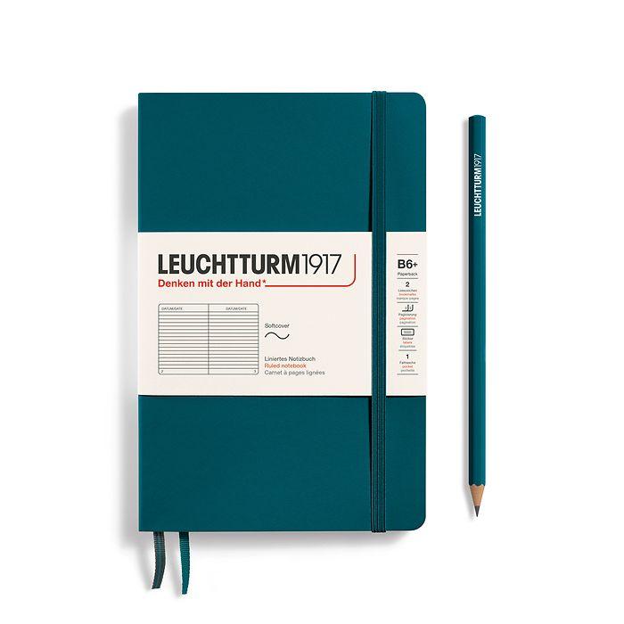 Notizbuch Paperback (B6+), Softcover, 123 nummerierte Seiten, Pacific Green, Liniert