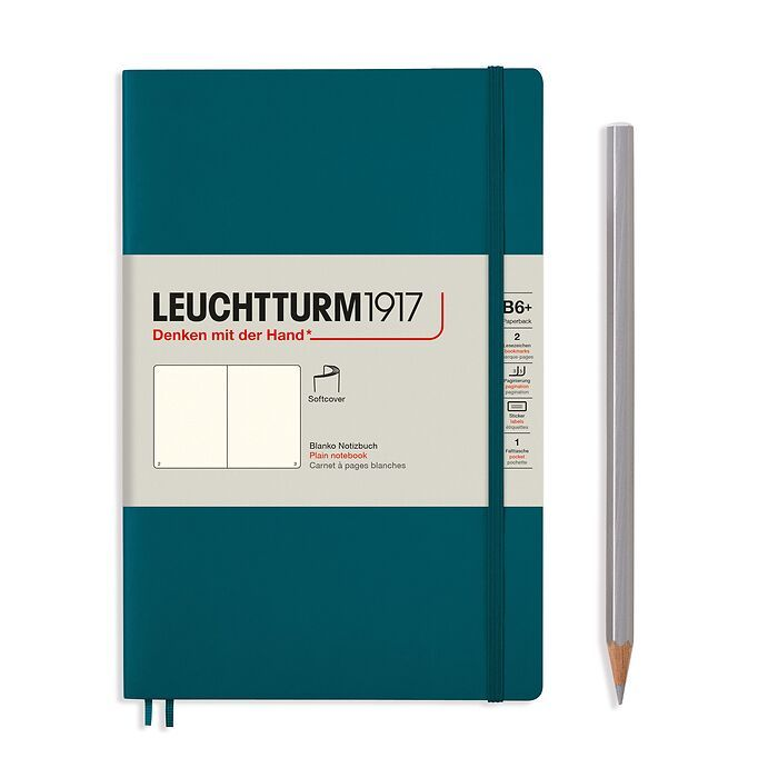 Notizbuch Paperback (B6+), Softcover, 123 nummerierte Seiten, Pacific Green, Blanko