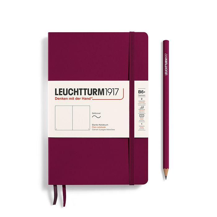 Notizbuch Paperback (B6+), Softcover, 123 nummerierte Seiten, Port Red, Blanko